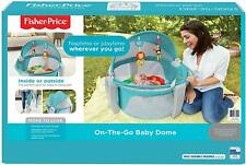 Fisher-Price On The Go Baby Dome, Blue/White New-Born Baby Cot Travel Bassinet