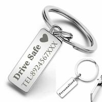 Custom Engraved Keychain Key Ring Logo Name Stainless Steel Personalized hot new