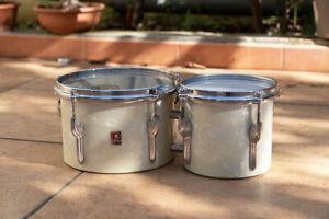 """Vintage Premier 6"""" + 8"""" bongos drums 1960s"""