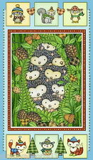 Hedgehugs Panel by Henry Glass - 100% Cotton Fabric Hedgehogs fox owl squirrel