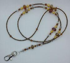 """Golden Glow"" fait main perles de verre ID Lanyard Badge Holder pass card holder"