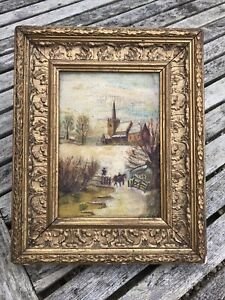 Antique Wood Gesso Gilt Gold Picture Frame + Naive Oil Painting on Canvas
