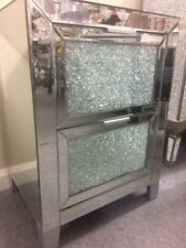 2 Mirrored and crackle glass bedside chest of drawers, mirrored bedside cabinets