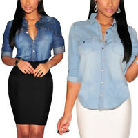 Women's Ladies Fitted Long Sleeve Denim Coat Shirt Jeans Blouse Lapel Top