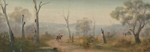 "Original Oil Painting Australian School ""Visiting the Neighbour"" Untitled"