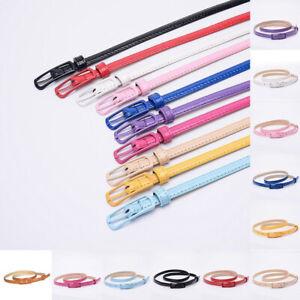 Fashion Women Girl PU-Leather Skinny Thin Waist Belt Narrow Waistband