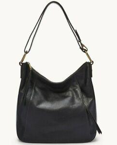 Fossil Talia Hobo Crossbody Shoulder Bag Black Leather SHB2716001 $228 Retail FS