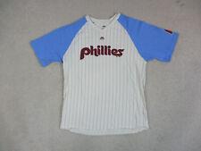 Majestic Philadelphia Phillies Shirt Adult Large White Blue MLB Baseball Mens