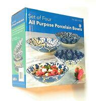 """Certified International Geoff Tygret 4 Pasta Salad Bowls (9"""") Blue & White"""