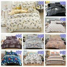 Striped Floral Doona/Duvet/Quilt Cover Set Queen King Size Bedding Pillow Cases