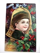 """Antique Vintage """"A Merry Christmas"""" Postcard w/ Boy & Large Gold Bell & Holly *"""