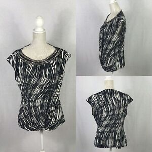 Wallis Ladies Top Black Mix Short Sleeve Size 16