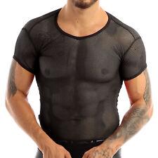US Men's Mesh See Through T-Shirt Fishnet Muscle Tank Top Short Sleeve Tops Tee