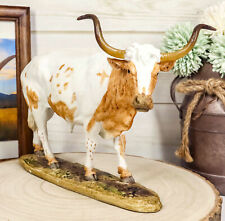 """Ebros North American Longhorn Cattle Cow Steer On Grass Pasture Statue 9"""" Long"""