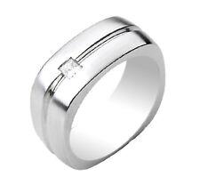 Men's Princess Cut Diamond Ring 0.20 Carat 14k Solid White Gold