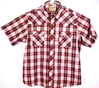 Wrangler Western Fashion Men's Shirt XL Short Sleeve Pearl Snap Up Red/White