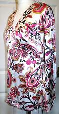 NEW QUALITY CREAM & PINK SATIN SIDE WRAP TOP ~ SIZE M/L ~ 14/16   #680