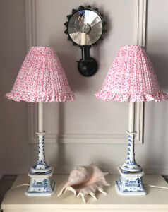 Handmade Pink Voile Lampshades With Frill