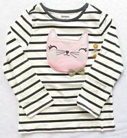 NEW Gymboree Girls Shirt Top Winter Star Black White Striped Pink Cat Glitter 5T