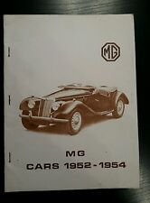 MG CARS Y TYPE ZA ZB TD TF MIDGET TF 1500 1952-1954 TECHNICAL DATA ROAD TESTS