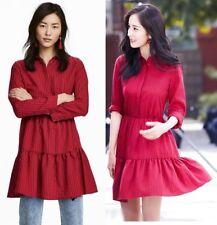 H&M BLOGGERS COTTON RED CHECKED GINGHAM FLOUNCE FRILL RUFFLE HEM SHIRT DRESS
