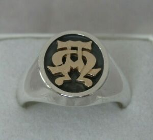 James Avery Alpha Omega Ring Sterling Silver 14k Yellow Gold Size 12.5