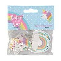 24 Unicorn Rainbow themed Cake Toppers Cupcake PICS PICKS birthday party Girl