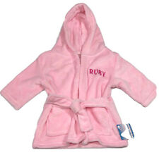 Personalised Baby Robe Dressing Gown Hooded Snuggle Ruby 12-18 Months Pink Gift