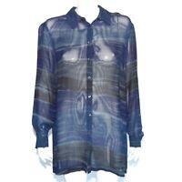 JAEGER GREAT BRITAIN Vintage 1980's Blue Wave Oversize Blouse Top Large - 065