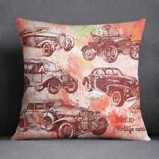 S4Sassy Decorative Vintage Cars Print Square Cushion Cover Throw Pillow Case