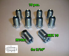 10 x Male M10x1 HEX 10 Brake Line Pipe Nuts Galvanized Metric for 3/16 Pipes TX