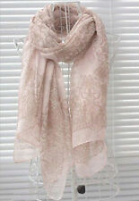 Lady Women's Fashion Long Big Soft Cotton Silk Voile Scarf Shawl Wrap - Pink