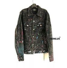 AMIRI Paint-Splattered Distressed Black Graffiti Denim Jacket Size XL RRP £945