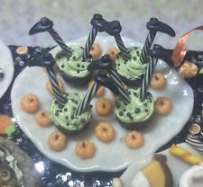 Dollhouse Miniature Handmade 'Plate Of Sinking Witch Cupcakes' 1:12 Halloween