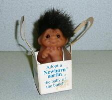 NORFIN DAM Things 1985 ADOPT A NEWBORN Baby Troll In Original Basket Cute!