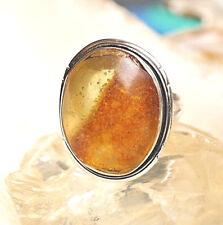 Silberring 55 Bernstein Oval Eirig Natur Schlicht Handarbeit Silber Ring Elegant