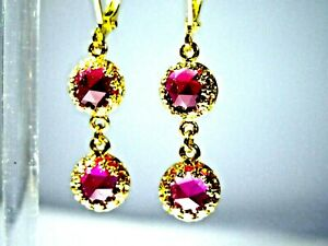VICTORIAN DESIGN ROSE CUT RUBY DOUBLE DROP EARRINGS WITH GOLD PLATED LEVERBACKS