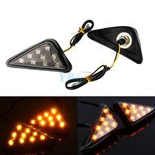 Universal Motorcycle Euro Triangle Flush Mount Turn Signal Smoke Amber LED Light