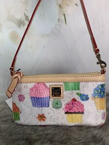 DOONEY & BOURKE CUPCAKES LARGE SLIM WRISTLET WHITE AUTHENTIC NWTS MSRP $98