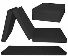 3 PIECE BLACK FOLD OUT CHAIR BED GUEST STOOL MATTRESS FUTON Z BED CHAIRBED GILDA