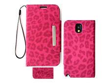 Pink Leopard Wallet Purse PU Leather Case Samsung Galaxy Note 3 III N9000