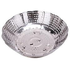 Stainless Steel Foldable Mesh Food Dish Vegetable Poacher Steamer Basket Tool S