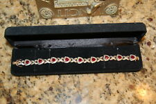 """Gold clad over sterling silver lab Ruby bracelet w diamond illusion 8.5"""" R Simon"""