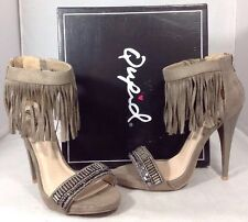 NEW QUPID High Heels Women's Shoes Size 7 Leather Fringe Beaded Strap Open Toe