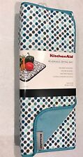 "KitchenAid Drying Mats Reversible 2 Pack Aqua Blue Dots Large Size 16"" x 22 """