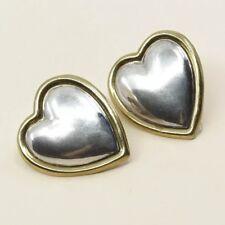 Laton 925 Heart Clip On Earrings Vintage Taxco Handmade Sterling Silver, meixco