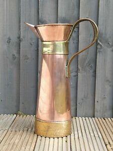 Huge Vintage Copper & Brass Jug Or Stick Stand - 52cms.