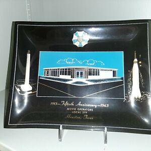 "IATSE Movie operators loc279 building Houston 1913-1963 dish/plate 9x7"""