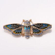 Hot Fashion Nice Quality Blue Crystals Enamel Cicada Pin Brooch