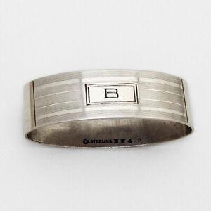 Art Deco Oval Napkin Ring Watrous Sterling Silver Mono B